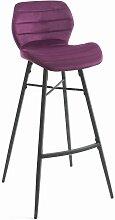 Tabouret de snack Hugo pieds métal/velours violet