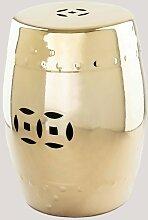 Tabouret décoratif bas en céramique métallique