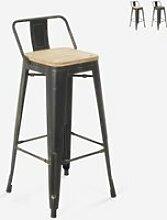 Tabouret design industriel métal bois vintage