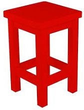 Tabouret droit bois made in France Rouge