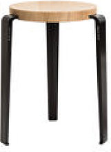 Tabouret empilable Lou / H 45 cm - Acier & chêne