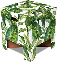 Tabouret en carton motif feuilles