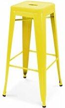 Tabouret en métal mat 1 place acier jaune