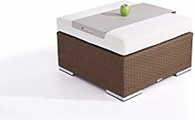 Tabouret en polyrotin Cube 75 cm - Brun Noisette