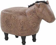Tabouret enfant en simili-cuir marron HORSE