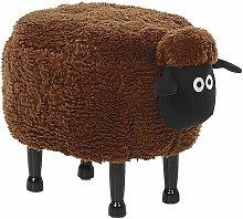 Tabouret enfant en tissu marron SHEEP