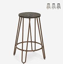 Tabouret haut design industriel en bois métal