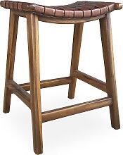 Tabouret haut en bois marron
