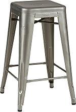 Tabouret haut H.65 de Tolix acier brut verni