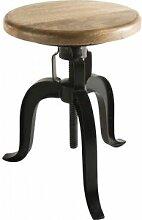 Tabouret industriel assise manguier pieds hauteur