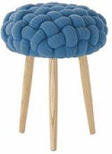 Tabouret Knitted Ø 35 x H 52 cm - Gan bleu/bois