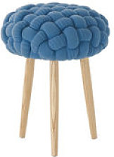 Tabouret Knitted Ø 35 x H 52 cm - Gan bleu,frêne