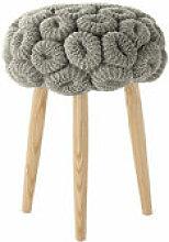 Tabouret Knitted Ø 35 x H 52 cm - Gan gris,frêne