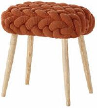 Tabouret Knitted 45 x 35 cm - Gan orange/bois