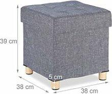 Tabouret pouf coffre avec espace de rangement gris