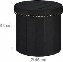 Tabouret pouf coffre avec espace de rangement rond