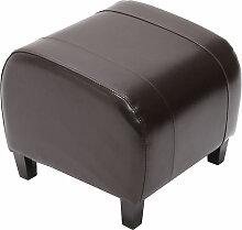 Tabouret pouf cuir EMMEN, 37x45x47cm, marron