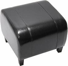 Tabouret pouf cuir EMMEN, 39x45x47cm, noir