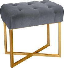 Tabouret pouf rectangle  velours argent pied or