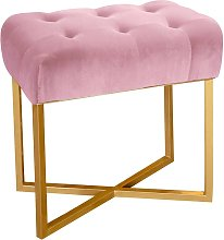 Tabouret pouf rectangle  velours rose pied or