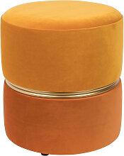 Tabouret pouf velours orange