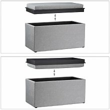 Tabouret rangement coffre pouf 78 cm gris clair -