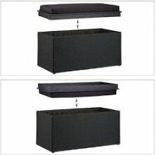 Tabouret rangement coffre pouf 78 cm noir