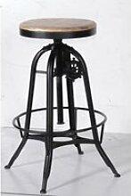 Tabouret réglable de bar métal noir et bois