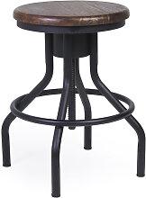 Tabouret réglable en fer noir