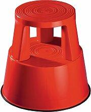 Tabouret roulant plastique rouge Hauteur avec/sans