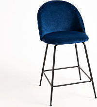 Tabouret Vint Velours Bas - Bleu