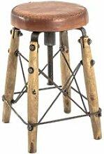 Tabouret vintage en bois massif et métal - 35 x