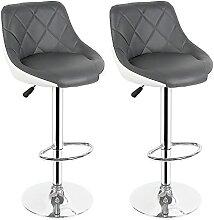 Tabourets de bar, 2pcs Chaises de salon gris gris