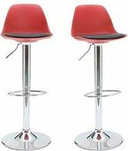 Tabourets de bar design rouge et noir (lot de 2)