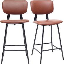 Tabourets de bar vintage marron clair avec pieds