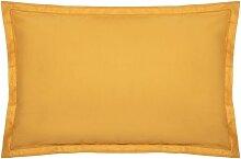 Taie d'oreiller en coton, jaune moutarde 50x70