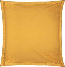 Taie d'oreiller en coton, jaune moutarde 63x63