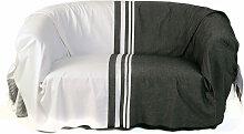 TANGER - Jeté de canapé 100% coton rayures noir
