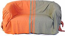 TANGER - Jeté de canapé coton rayures orange