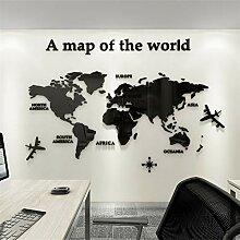 Tapez Carte du monde Stickers muraux acrylique 3D