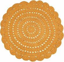 Tapis Alma tricoté main en coton coloris jaune