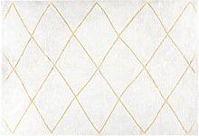 Tapis berbère en coton écru et doré 140x200