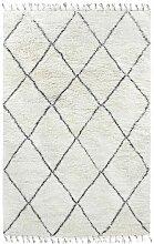 Tapis berbère Larra en laine noir et blanc 200x300