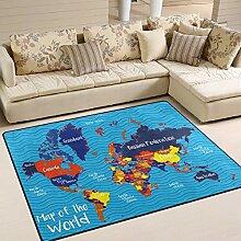 Tapis carte du monde avec tous les pays, 183 x 122