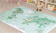 Tapis Carte du Monde : Vert / 100 x 150 cm