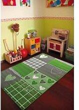 Tapis chambre filles BAMBINO COEUR vert 80x150,