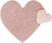 Tapis coton relief coeur rose 110x170cm
