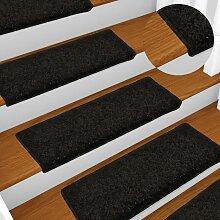 Tapis d'escalier 15 pièces 65x25 cm Noir -