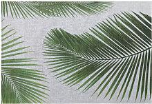 Tapis d'extérieur gris imprimé feuilles de