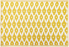 Tapis d'extérieur jaune motifs graphiques